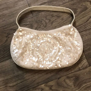 Express Mother of Pearl Clutch purse, ivory/bone